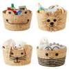 Natural Bear Lion Water Hyacinth Round Bin Basket Eco-friendly Animal Basket Laundry Storage